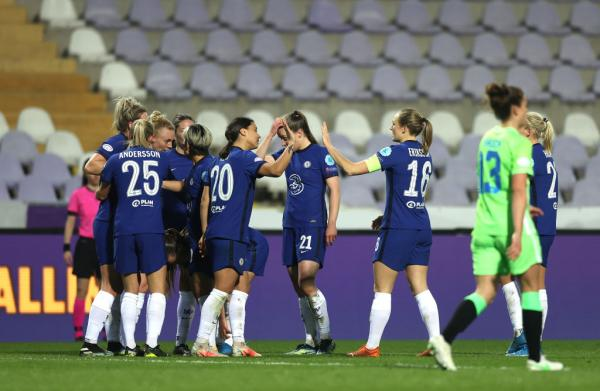 Sam Kerr of Chelsea celebrates with Magdalena Eriksson and team mates after scoring their side's first goal during the First Leg of the UEFA Women's Champions League Quarter Final match between Chelsea FC and VfL Wolfsburg at Szusza Ferenc Stadion on March 24, 2021 in Budapest, Hungary. Chelsea FC face VfL Wolfsburg at a neutral venue in Budapest behind closed doors to prevent the spread of Covid-19 variants. (Photo by David Balogh/Getty Images)