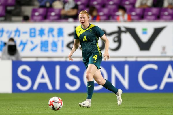 Clare Polkinghorne of Australia in action during the women's international friendly match between Japan and Australia at Sanga Stadium by Kyocera on July 14, 2021 in Kameoka, Kyoto, Japan. (Photo by Masashi Hara/Getty Images)