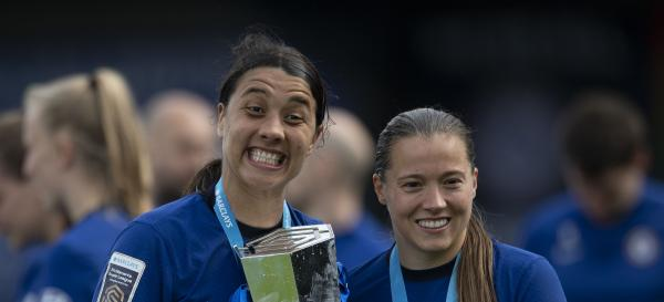 Samantha Kerr and Fran Kirby of Chelsea Women celebrate after Chelsea win the WSL during the Barclays FA Women's Super League match between Chelsea Women and Reading Women at Kingsmeadow on May 09, 2021 in Kingston upon Thames, England. Sporting stadiums around the UK remain under strict restrictions due to the Coronavirus Pandemic as Government social distancing laws prohibit fans inside venues resulting in games being played behind closed doors. (Photo by Visionhaus/Getty Images)