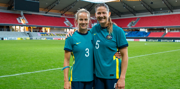 Aivi Luik and Laura Brock after game against Sweden, June 2021