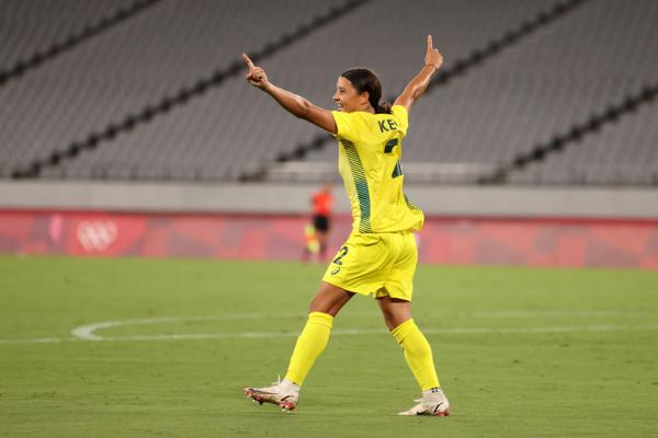 Sam Kerr #2 of Team Australia celebrates after scoring their side's second goal during the Women's First Round Group G match between Australia and New Zealand during the Tokyo 2020 Olympic Games at Tokyo Stadium on July 21, 2021 in Chofu, Tokyo, Japan. (Photo by Dan Mullan/Getty Images)