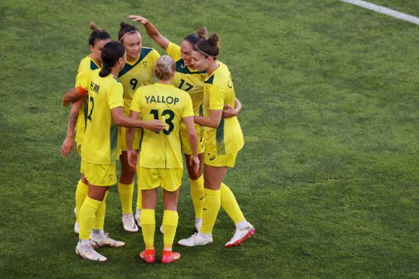The Matildas celebrate goal against the USA