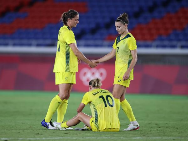 Laura Brock, Stephanie Catley and Emily van Egmond post the Matildas 1-0 loss to Sweden in the Tokyo 2020 semi-finals