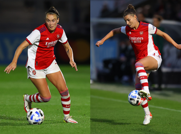 Caitlin Foord and Steph Catley in Arsenal UWCL win