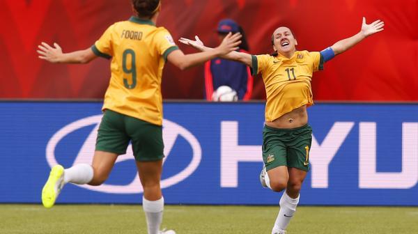 Co-captain Lisa De Vanna celebrates a goal at the World Cup.