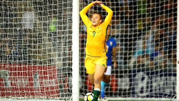 Caitlin Foord celebrates her goal early in the second half against Brazil.