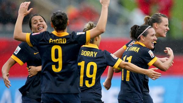 Matildas players celebrate at full time following their 1-0 win over Brazil.