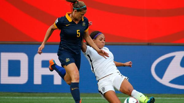 Laura Alleway in action during the Matildas' opening group match against USA.