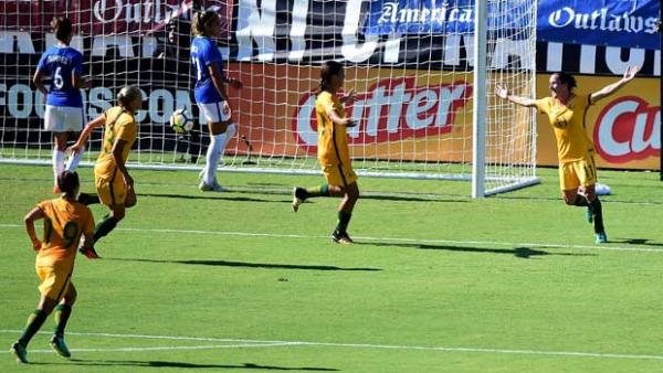 Lisa De Vanna celebrates one of her goals in the Westfield Matildas' big win over Brazil at the Tournament of Nations.