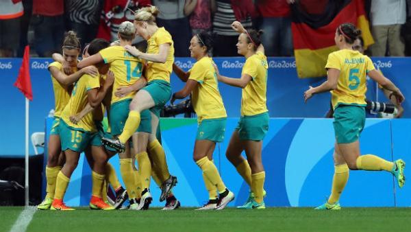 The Australian Women's Football Team celebrate Sam Kerr's opener against Germany.