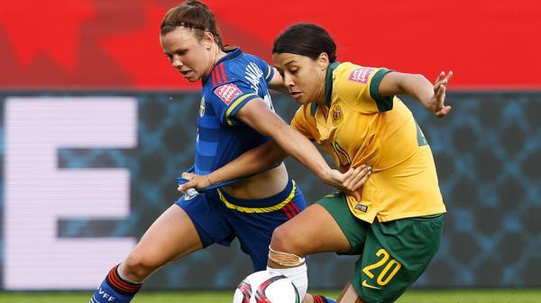 Sam Kerr put in a tireless effort for the Matildas against Sweden.