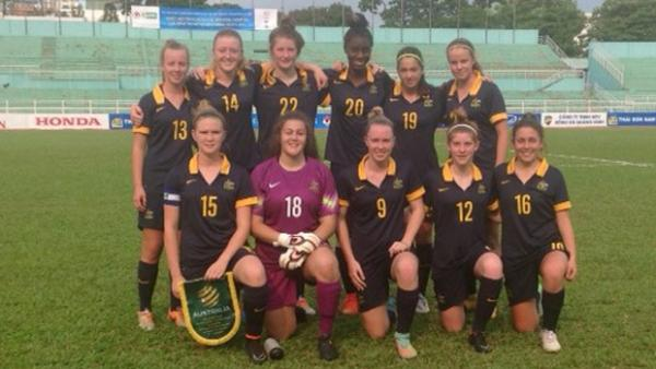 The Young Matildas starting XI which faced Laos.