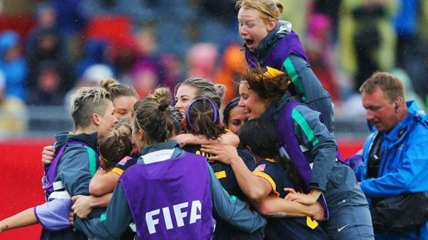 The Matildas camp celebrate following their 1-0 win over Brazil.