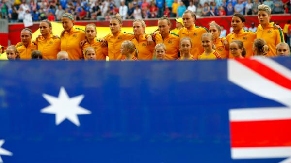 The Matildas belt out the Australian national anthem at Winnipeg Stadium.