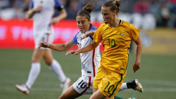 Westfield Matildas midfielder Emily van Egmond on the ball during Australia's win over USA.