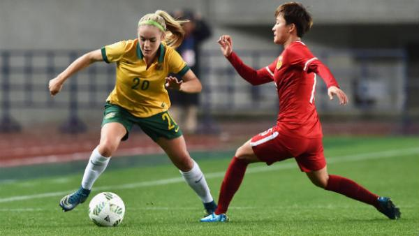 16-year-old Westfield Matildas defender Ellie Carpenter in action against China.