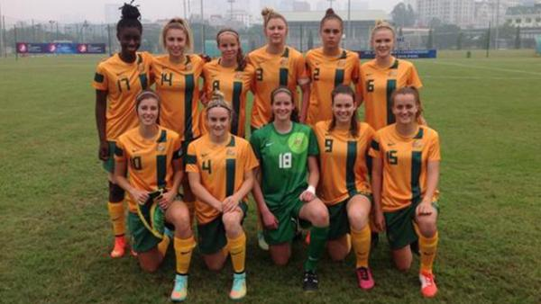 The Westfield Young Matildas starting XI against Hong Kong.