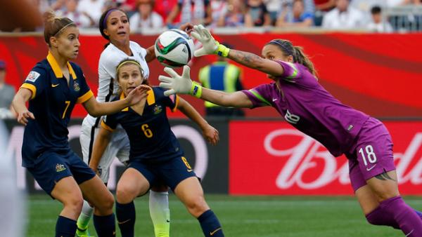 Melissa Barbieri makes a save during the Matildas' clash with the USA.