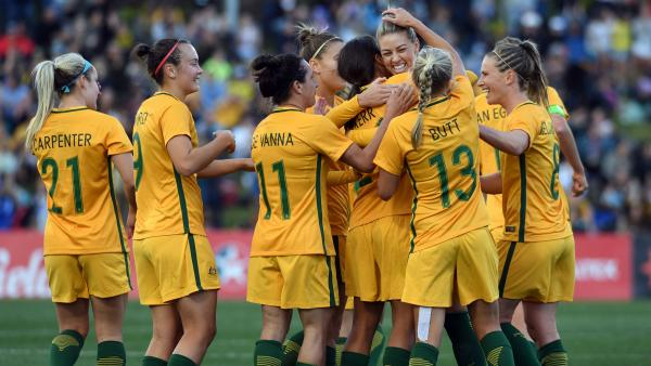 The Westfield Matildas celebrate a goal in their 2-1 win over Brazil.