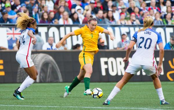 Caitlin Foord on the ball against the USA.
