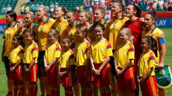 The Westfield Matildas before kick-off in their Women's World Cup quarter-final against Japan.