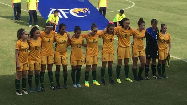 The Mini Matildas starting XI before their game against Hong Kong.
