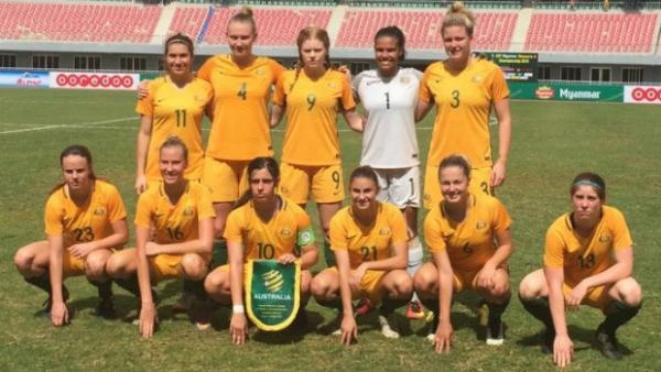 The Young Matildas starting XI against Myanmar.