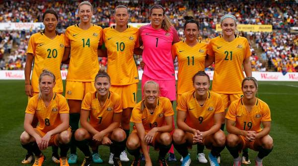 The Westfield Matildas starting XI against Brazil.