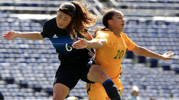 Sam Kerr netted a hat-trick to help the Matildas to a 4-2 win over Japan.
